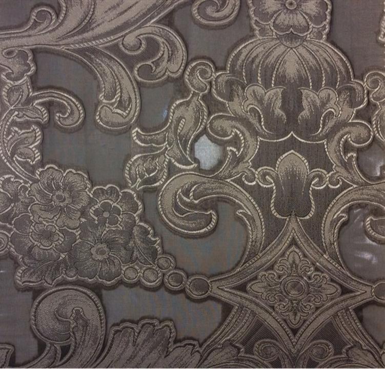 Элитная итальянская ткань барокко Belvedere 02. Европа, Италия, тонкий тюль. На чёрном фоне серебристый орнамент купить