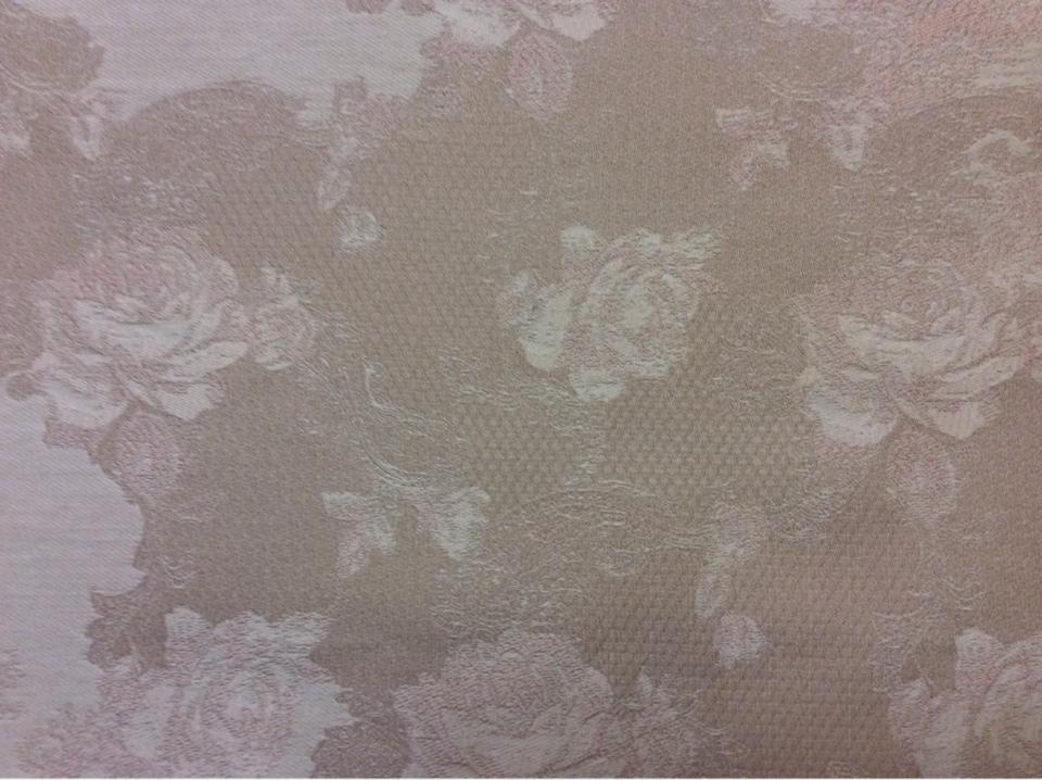 Портьерная ткань гобелен, хлопок 2330/23. Европа, Испания. Серый с бледно-розовым орнамент. Стиль ткани жуи, прованс