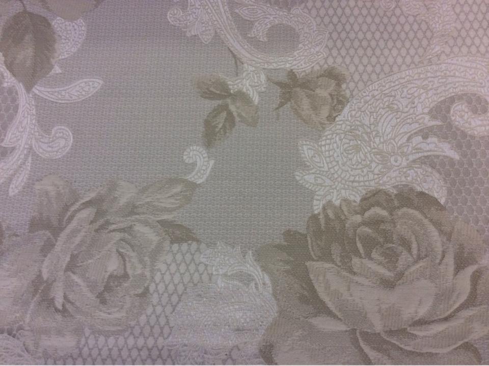 Красивая портьерная ткань для штор 2325/11. Испания, Серый с бледно-оливковым орнамент в интернет магазине