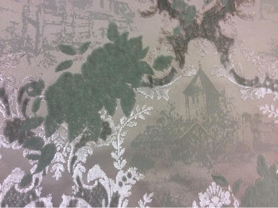 Бархатная ткань для штор, хлопок (набивка) в стиле жуи, прованс 2342/41. Европа, Испания. Серебристо-зелёный орнамент