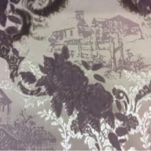 Хлопок, бархат (набивка), ткань в стиле жуи, прованс 2342/43. Испания. Серебристо-сиреневый фон