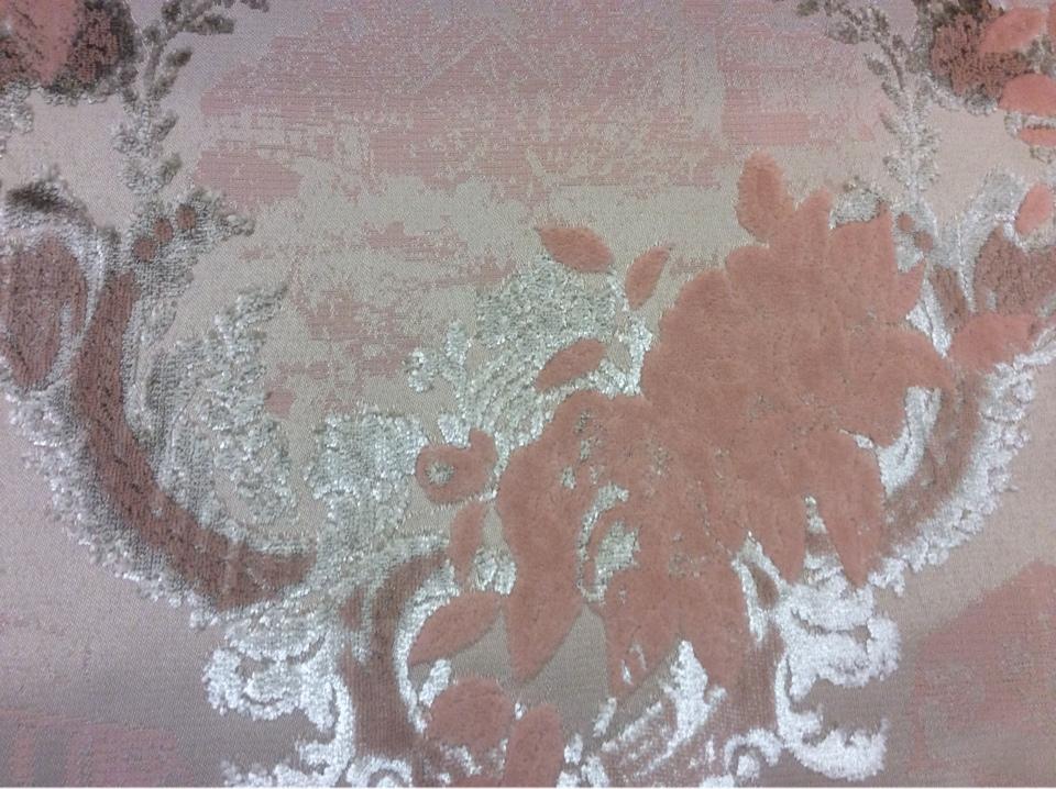 Бархатная ткань для штор, хлопок (набивка) 2342/23. Европа, Испания. Серебристо-персиковый орнамент