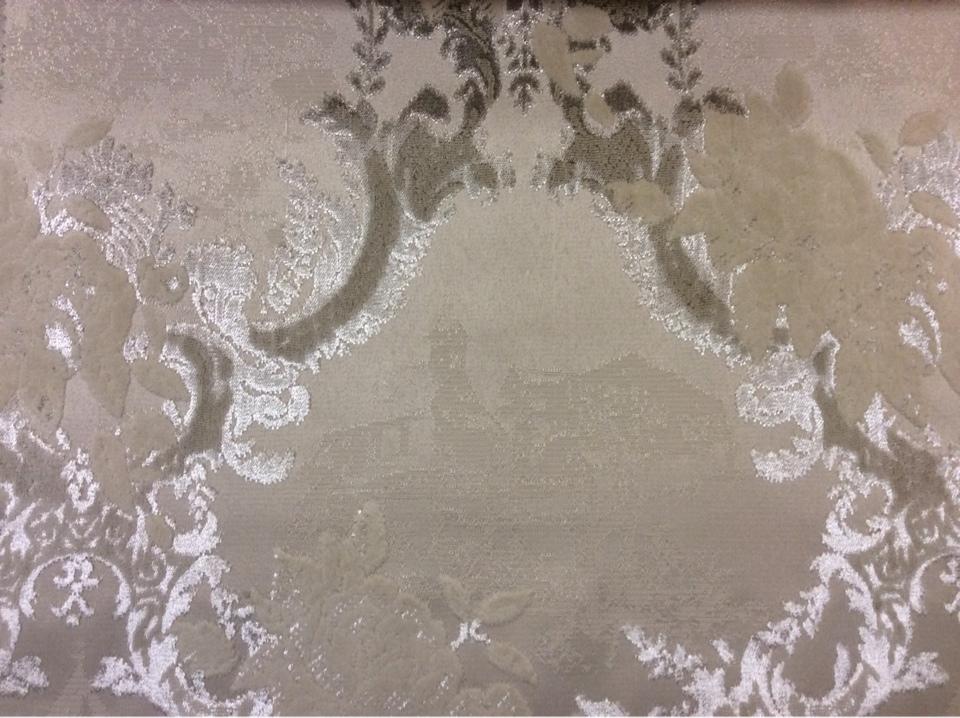 Портьерная ткань для штор, бархат, хлопок 2342/21. Испания, Европа. Серебристо-песочный орнамент