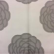 Ткань под лен Caelum, цвет Grey 06. На белом фоне серые розы ( абстракция). Европейская, Испания.