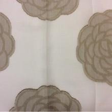 Испанская ткань под лён Caelum, цвет Beige 30. Европа, Испания. На белом фоне бежевые розы ( абстракция) в стиле арт-нуво