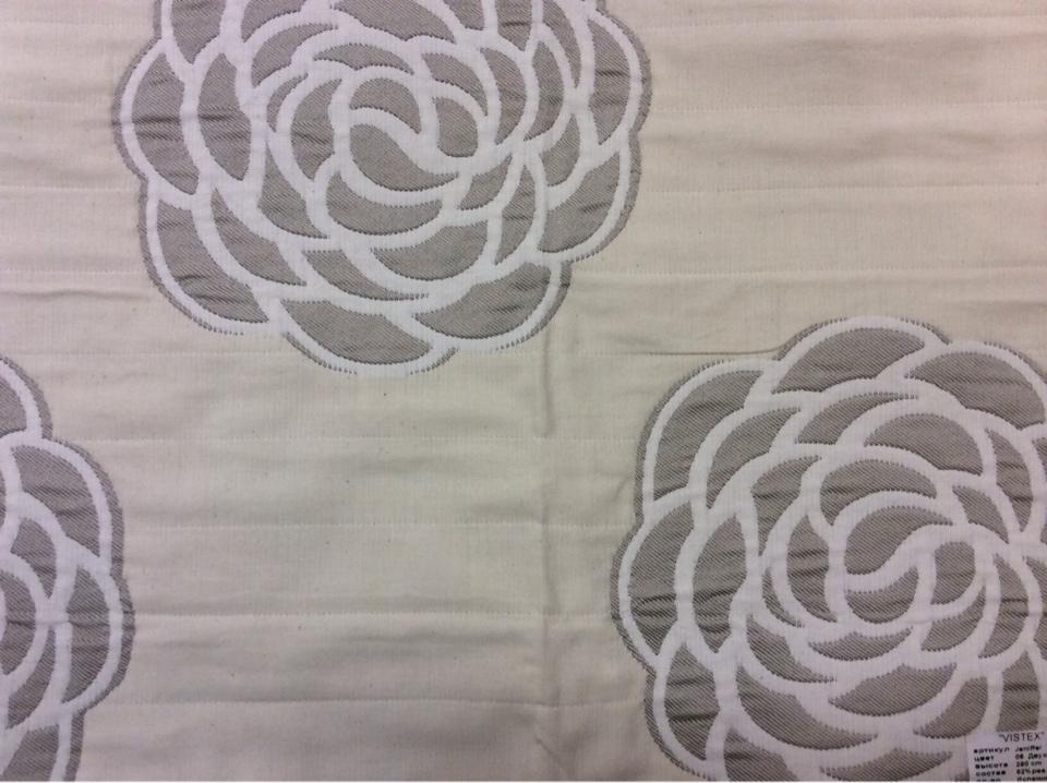 Двухсторонняя ткань для штор из хлопка Jeniffer 06. Европа, Испания. Серые, бежевые розы ( абстракция) в стиле ар-нуво