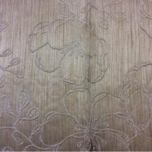 Ткань двухсторонняя атлас с вышивкой Fiora цвет Beige 01. Европа, Испания. Золотистый фон ( ткань двухсторонняя) в тиле арт-нуво