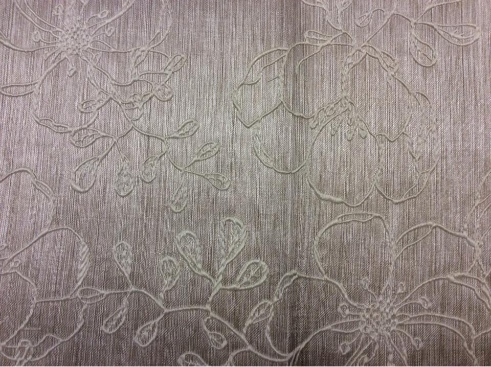 Портьерная ткань атлас с вышивкой Fiora цвет Perla 05. Европа, Испания.  Серебристо-серый фон ( ткань двухсторонняя) в стиле арт-нуво