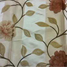 Немецкая тафта с вышивкой 2024/32. Германия, полиэстер, портьерная ткань для штор. Золотистый фон, терракотовые цветы