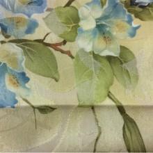 Портьерная ткань из хлопка производства Турции Zambak 71. На золотистом фоне голубые лилии