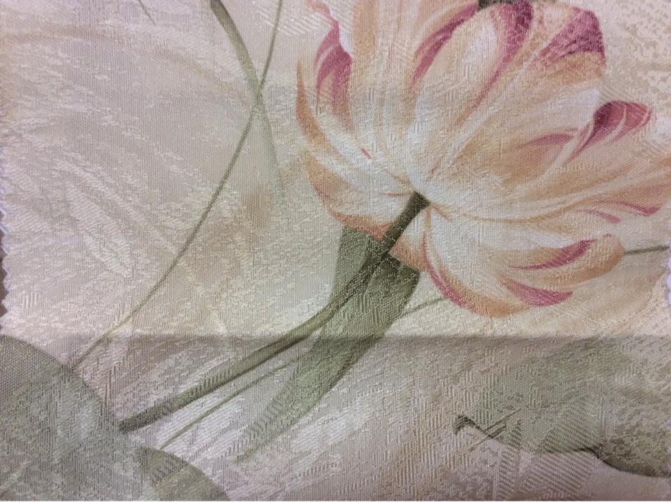 Ткань с золотисто-розовыми тюльпанами Tulupani 38. Турция, атлас, хлопок