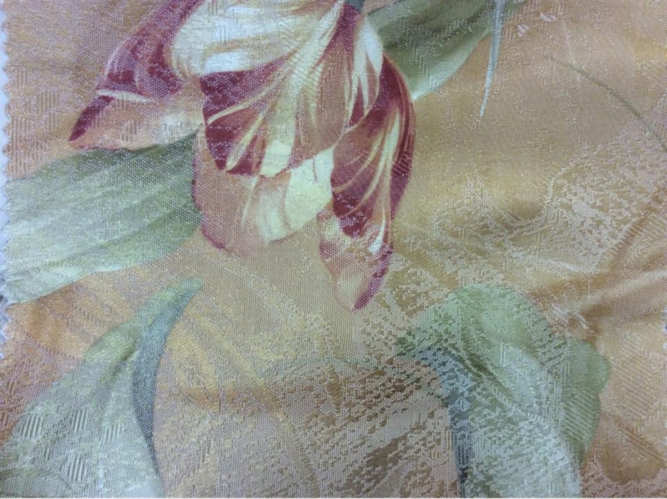 Цветочная ткань Tulupani 59, на золотом фоне золотисто-бордовые тюльпаны. Турция, атлас, хлопок