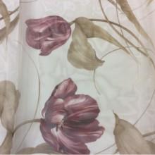 Тюль органза с цветами Tulupani Suit 150. Турция, 100% полиэстер. На прозрачном фоне бордовые тюльпаны