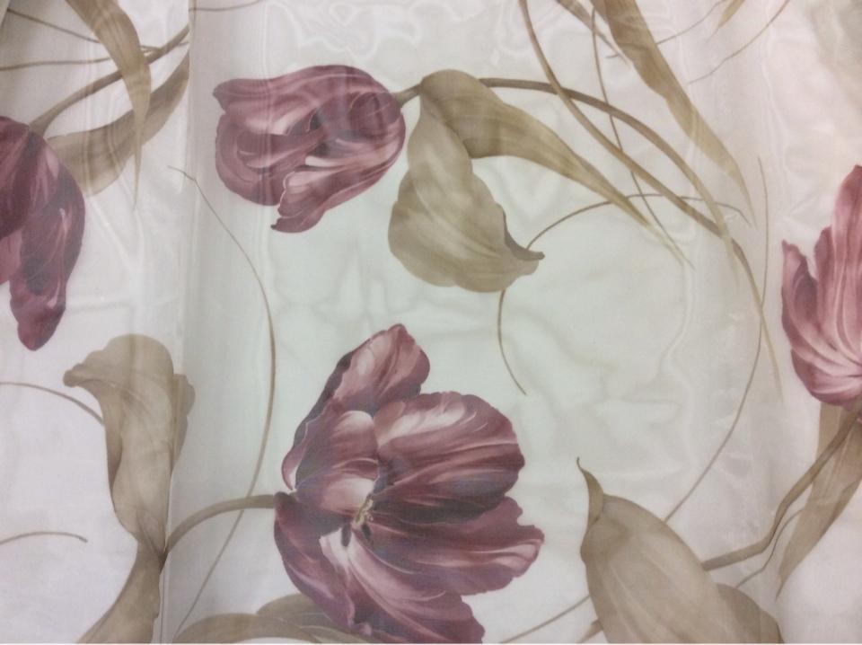 Тюль органза с цветами Tulupani Suit 150. Турция, 100% полиэстер. На прозрачном фоне бордовые тюльпаны купить