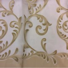Красивая тюль из органзы Mestra 9. Турция, стиль арт-нуво. На прозрачном фоне золотистые завитки