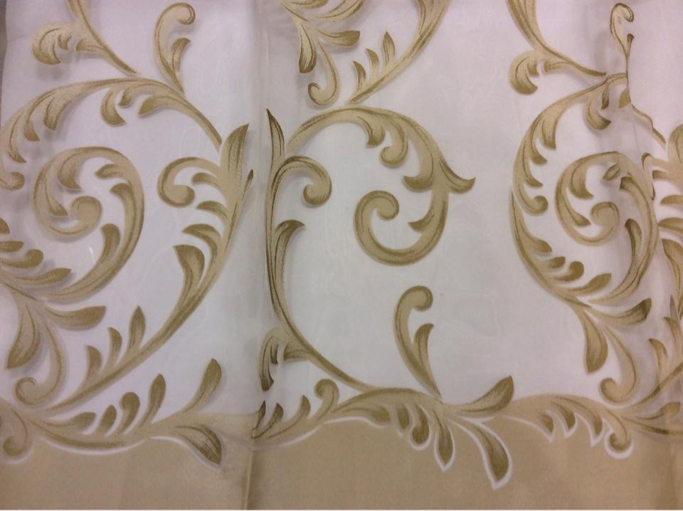 Красивая ткань из органзы Mestra 9. Турция, стиль арт-нуво. На прозрачном фоне золотистые завитки