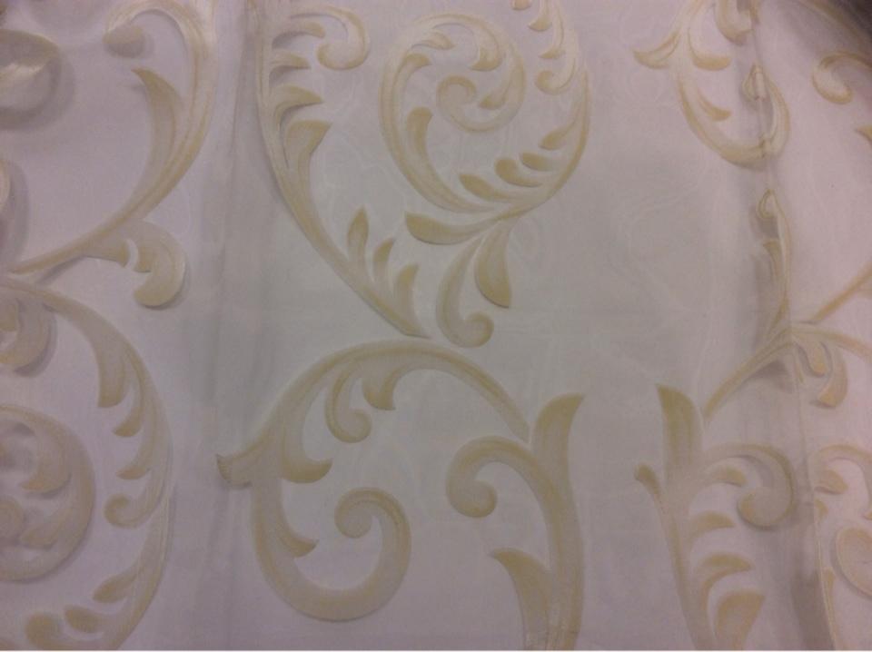 Шикарная тюль из органзы Mestra 12. Турция, стиль ткани арт-нуво. На прозрачном фоне кремовые завитки заказать Москва