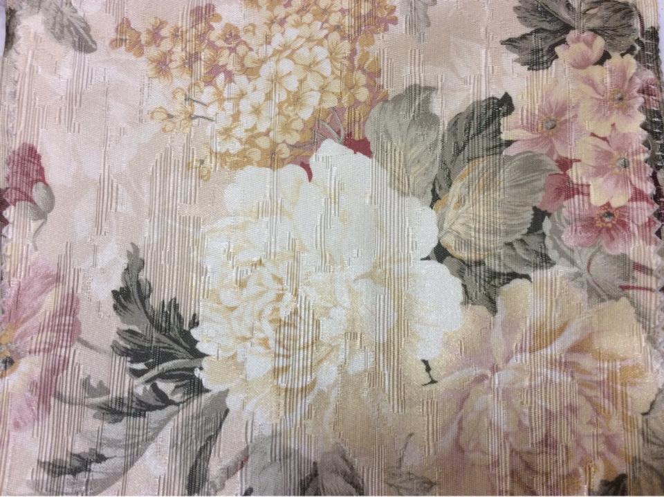 Портьерная атласная ткань для штор Paradise 1003. Турция, атлас, хлопок, полиэстер. На золотистом фоне жёлтые с розовым цветы. Прованс, стиль английского загородного дома