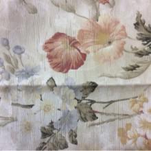 Портьерная ткань из хлопка, атлас с розовыми и голубыми цветами Paradise 1009. Турция, стиль английского загородного дома, прованс. На золотистом фоне розовые, голубые цветы
