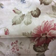 Ткань из полиэстера с цветами Raya 1109. Турция, атлас, портьерная. На кремовом фоне бордовые, голубые цветы