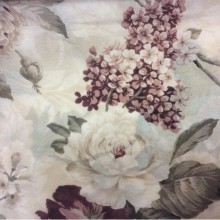 Тюль, креп с цветками Raya Suit 1001. Турция, полиэстер. На кремовом фоне сиреневые, бордовые цветы