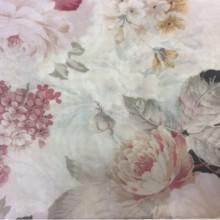 Креп красивая турецкая ткань для штор Raya Suit 1002. Турция, полиэстер, тюль. На кремовом фоне розовые цветы
