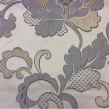 Портьерная ткань в стиле арт-нуво Olbia, цвет Silver. Европа, Бельгия. На светлом фоне серо-голубые цветы