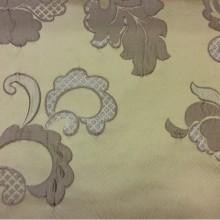 Бельгийская ткань с вышивкой из атласа Olbia, цвет Light Gold. Европа, Бельгия. На золотистом фоне бежевые цветы