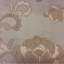 Европейская ткань из атласа с вышивкой Olbia, цвет Tranquil. Бельгия, портьерная. На фоне цвета морской волны бежевые цветы