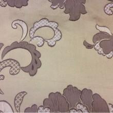 Портьерная ткань из вискозы, вышивка Olbia, цвет Amethyst. Европа, Бельгия, портьерная ткань для штор. На бежевом фоне аметистовые цветы