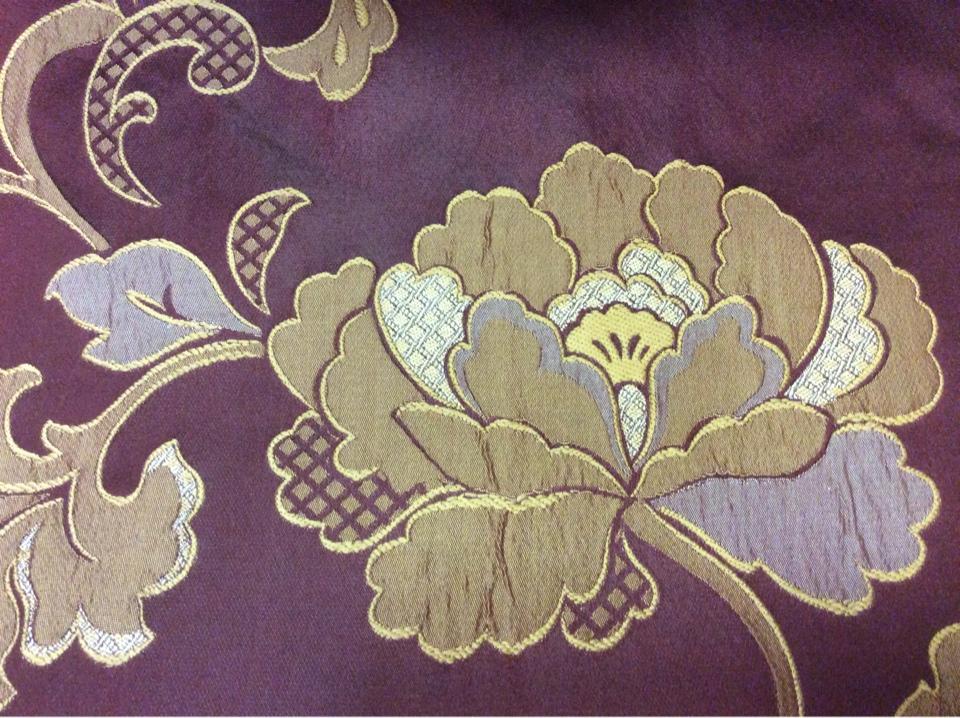 Ткань из полиэстера и вискозы с вышивкой Olbia, цвет Sangria. Европа, Бельгия, портьерная ткань в стиле арт-нуво. На бордовом фоне золотистые цветы