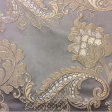 Европейская ткань для штор с цветами, пейсли Varese, цвет Fog. Европа, Бельгия, портьерная ткань средней плотности. На сером фоне бежевые цветы, пейсли