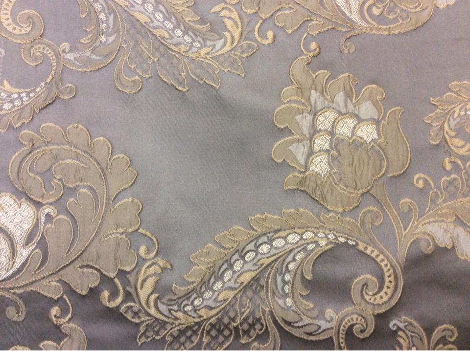 Европейская ткань для штор с цветами, пейсли Varese, цвет Fog. Европа, Бельгия, портьерная ткань средней плотности. На сером фоне бежевые цветы, пейсли купить