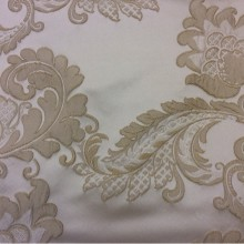 Ткань для штор в стиле пейсли Varese, цвет Ivory. Бельгия, портьерная ткань. На светлом фоне кремовые цветы, пейсли