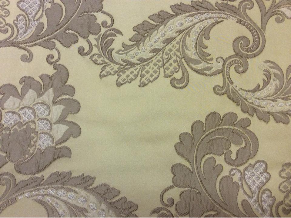 Красивая ткань в стиле арт-нуво с вышивкой Varese, цвет Light Gold. Европа, Бельгия, портьерная ткань для штор. На золотистом фоне бежевые цветы, пейсли купить