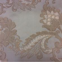 Ткань атлас с вышивкой в классическом стиле Varese, цвет Tranquil. Европа, Бельгия. На фоне цвета морской волны бежевые цветы, пейсли