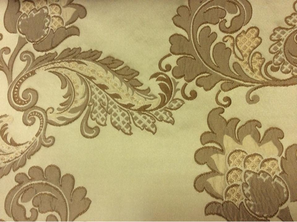 Плотная ткань с вышивкой в классическом стиле Varese, цвет Feather Green. Европа, Бельгия, портьерная ткань. На оливковом фоне бронзовые цветы, пейсли купить в интернет-магазине Москва