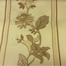 Цветочная бельгийская ткань с вышивкой Isernia, цвет Feather Green. Европа, Бельгия, портьерная средней плотности. На оливковом фоне бронзовые цветы