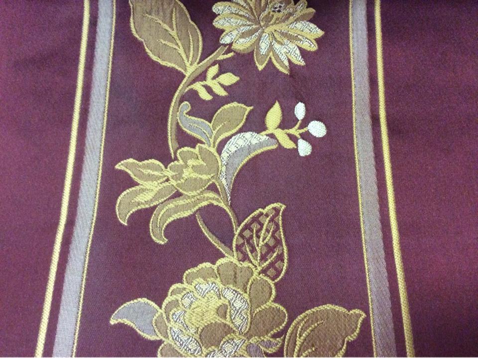 Портьерная ткань с вышивкой Isernia, цвет Sangria. Европа, Бельгия. На бордовом фоне золотистые цветы