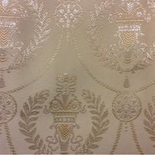 Ткань для штор в стиле ампир 2381/11. Франция, Европа, портьерная ткань. Ванильный фон, серебристый орнамент