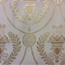Атлас с вышивкой в стиле ампир 2381/15. Франция, Европа, портьерная ткань для штор. Ванильный фон, насыщенный золотой орнамент