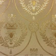 Французская ткань в стиле ампир (барокко) 2381/24. Европа, Франция, портьерная. На кремовом фоне золотистый орнамент