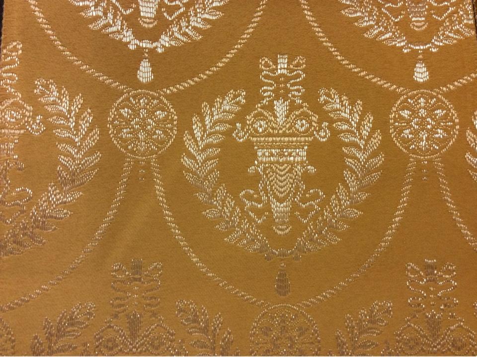 Красивая атласная ткань с вышивкой 2381/22. Европа, Франция, портьерная. Фон цвета охры, серебристый орнамент купить