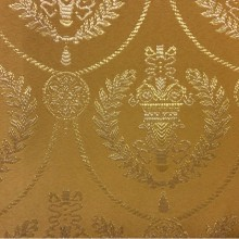 Элитная ткань в стиле ампир, атлас с вышивкой 2381/28. Франция, Европа, портьерная. Фон цвета охры, золотистый орнамент