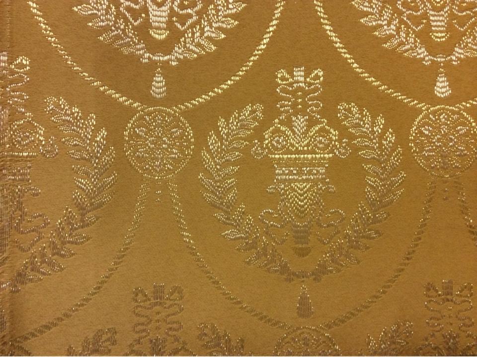 Элитная ткань в стиле ампир, атлас с вышивкой 2381/28. Франция, Европа, портьерная. Фон цвета охры, золотистый орнамент купить