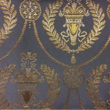 Ткань из атласа в стиле ампир купить в Москве 2381/45. Франция, Европа, портьерная ткань. Насыщенный голубой фон, золотистый орнамент