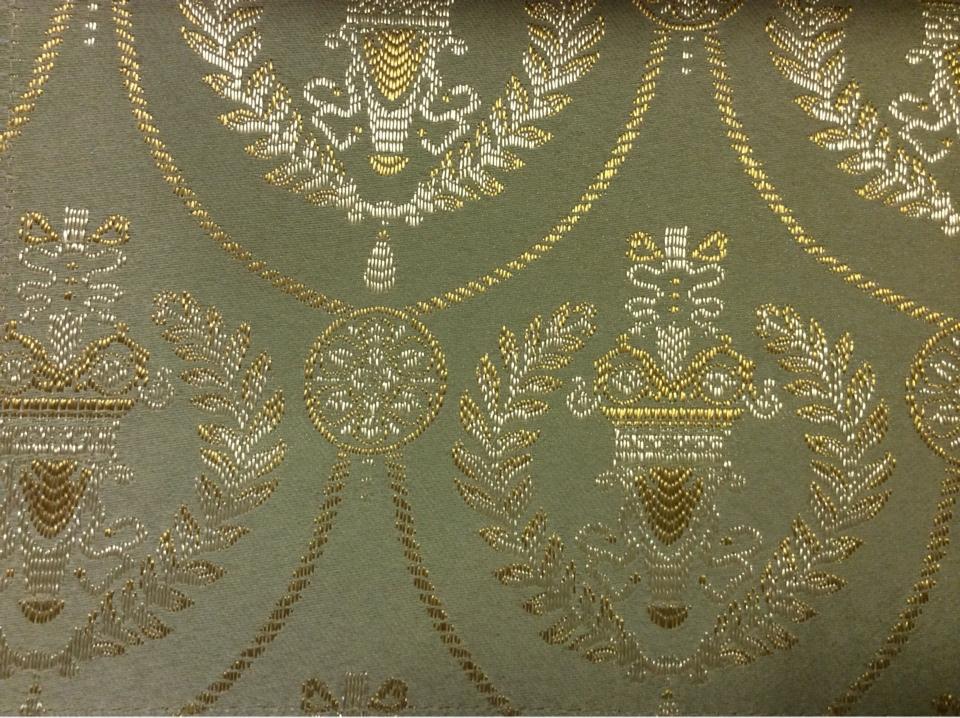 Французская портьерная ткань для штор из атласа с вышивкой 2381/51. Европа, Франция, барокко, ампир. Оливковый фон, золотистый орнамент купить