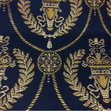 Дорогая французская ткань для штор в стиле ампир 2381/40. Европа, Франция, портьерная. Тёмно-синий фон, золотистый орнамент