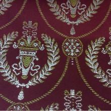 Купить французскую ткань из атласа с вышивкой в Москве 2381/30. Европа, Франция, портьерная ткань. Насыщенный красный фон, золотистый орнамент