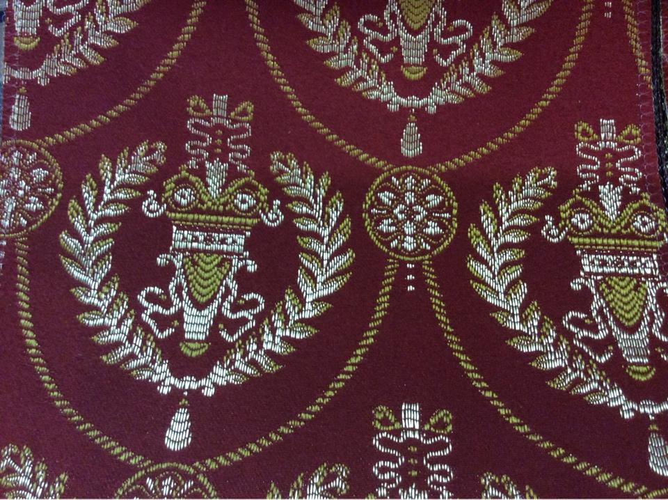 Купить французскую ткань из атласа в Москве 2381/30. Европа, Франция, портьерная ткань. Насыщенный красный фон, золотистый орнамент купить